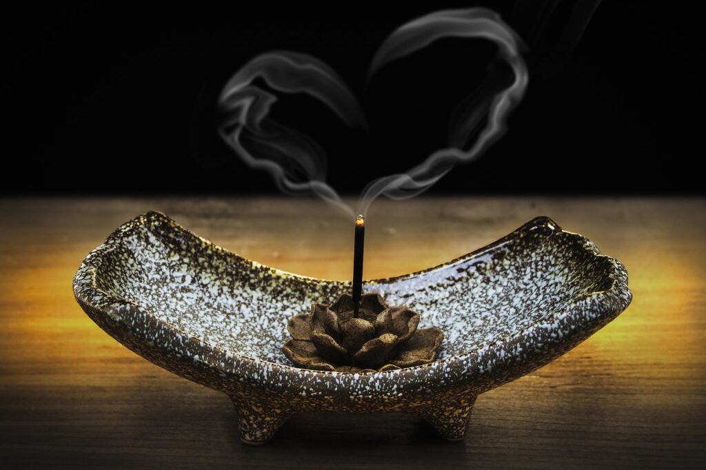 incense smoke in the shape of a heart | Balanced Bodycare